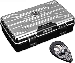JFYHZ Elegant Style The Portable Waterproof Moisture Cigar Boxes, Cigar Cut Set, Silver/Black (Color : Silver)