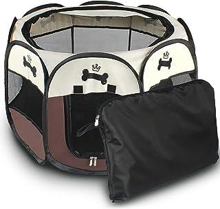 八角形 ペットケージ メッシュサークル 折り畳み式 防水 ペットテント 通気性 軽量 キャリーバッグ付き犬/猫用