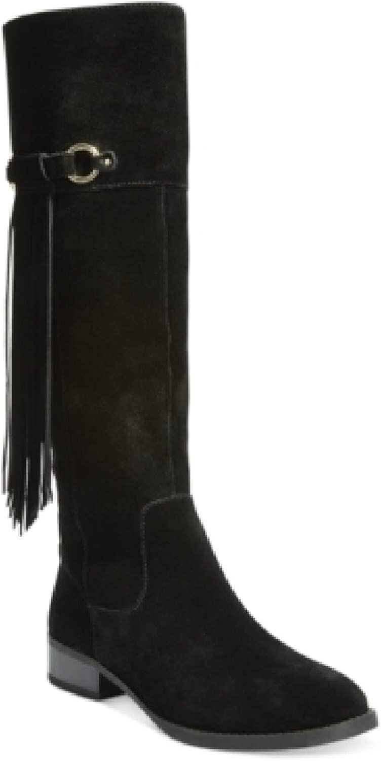 INC International Concepts Womens Fayer Wide Calf Fringe Boots Black Suede 6 M US
