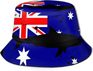 JO-CAP&1 Vintage Shark Australian Flag Men/Women Fisherman Hats Boonie Hat Outdoor Hunting Hat for Hiking Camping