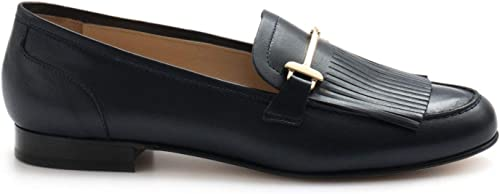LUCA GROSSI - bleu Leather Fringed Mocassins with with Clamps - E753NAPPA bleu  cherche agent commercial