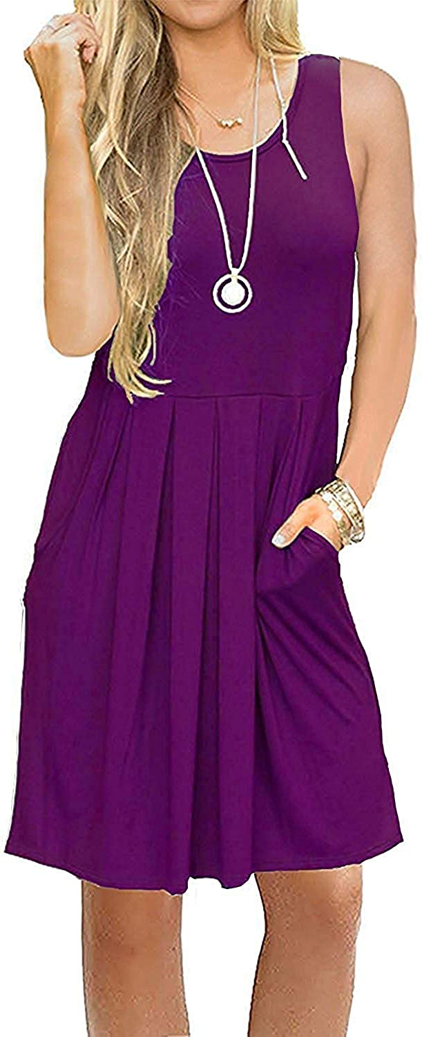 Translated TODOLOR Womens Casual Sundress Pleated S Knee Length Same day shipping Tank Summer