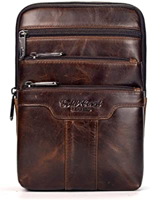 Cow Genuine Leather Business Men Small Messenger Bags Male Shoulder Crossbody Chest for Man IPAD Handbags