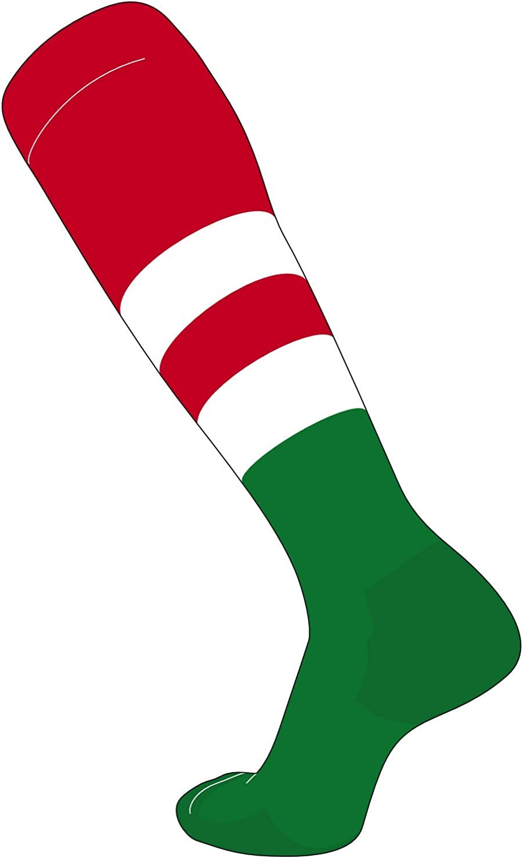 TCK Elite Baseball Football Knee High Striped Socks Brown Bright E White