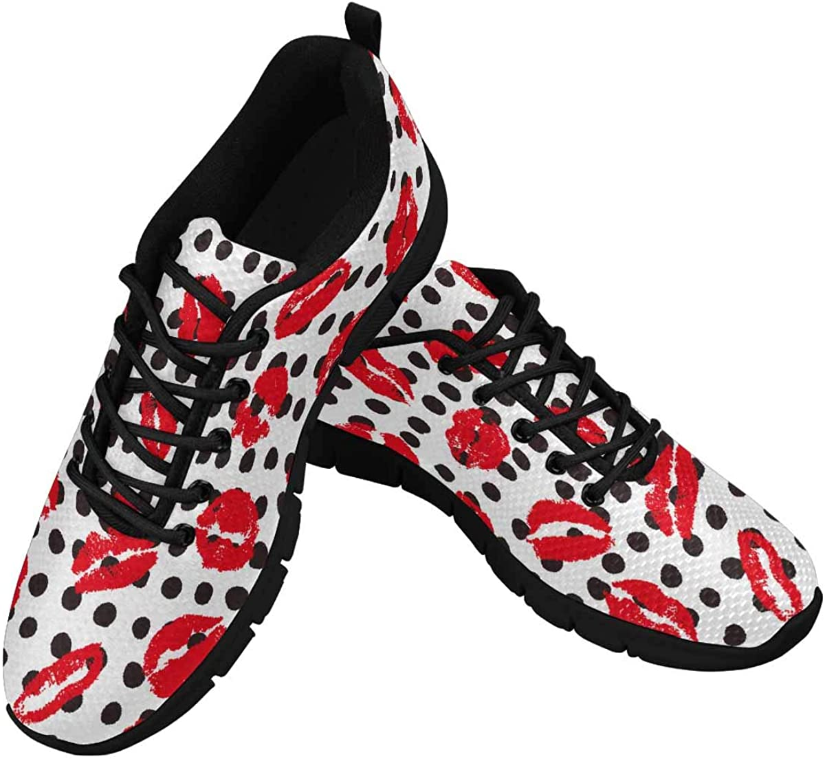 InterestPrint Female Lips Women's Athletic Mesh Breathable Casual Sneakers Fashion Tennis Shoes