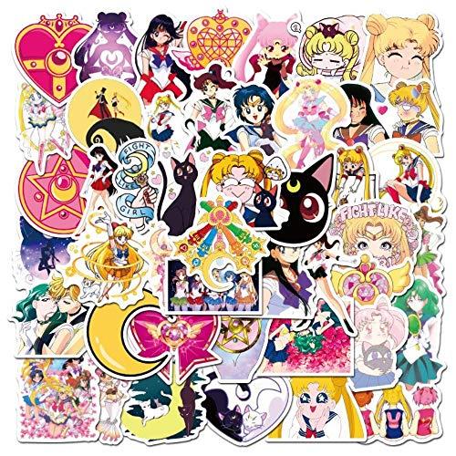 HNQ Pegatinas estéticas Bonitas 50 Piezas Anime Sailor Moon Agua Hielo Luna Pegatinas Motocicleta Skate Notebook Guitarra Maleta PVC Pegatinas Impermeables
