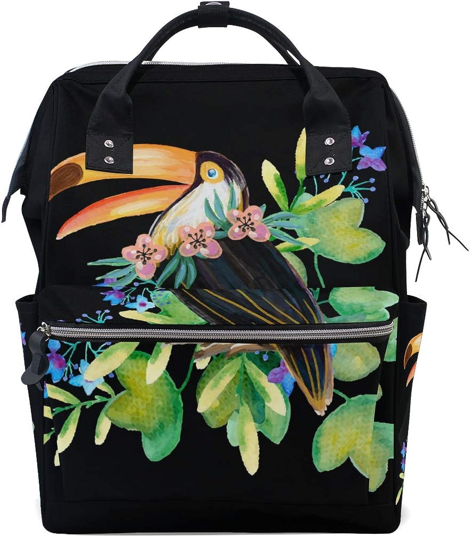 DEZIRO Canvas Pretty Toucan Painting School Pack Backpacks Travel Bag