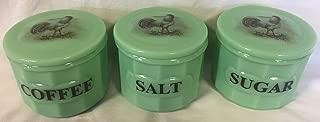 Set of 3 Crocks Canisters w/Chickens White Leghorn Roosters - Jade Jadeite Jadite Green Depression Style Glass - Coffee Salt Sugar