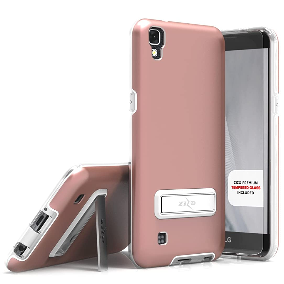 Zizo Elite Series Compatible with LG X Power Case with Tempered Glass Screen Protector, Kickstand, Shockproof Protection LG X Power K210 Rose Gold