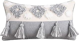 redcolourful Funda de cojín de sofá hecha a mano con borla nórdica, funda de cojín de felpa para mesita de noche, funda de almohada con flecos, diseño vintage nudo beige + gris 30 x 50 cm