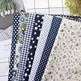 7 piezas de 50 * 50 cm tela de 100% Algodón utilizada para la decoración de costura artesanal telas patchwork DIY. (Marina)
