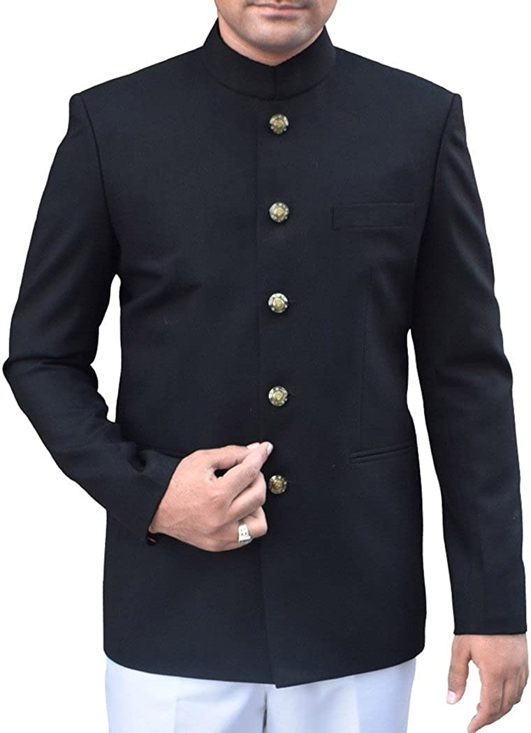 INMONARCH Mens Black Polyester 2 Pc Indian Nehru Collar Suit Party Wear 5 Button NS989