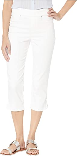 Colored Knit Denim Pull-On Capris w/ Braid Detail in White