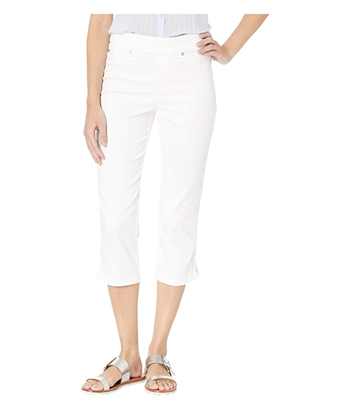 Tribal Colored Knit Denim Pull-On Capris w/ Braid Detail in White (White) Women