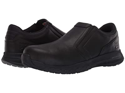 Timberland PRO Drivetrain Slip-On Composite Safety Toe (Black Leather) Men