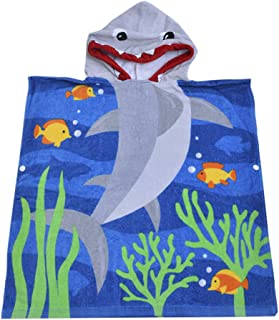SearchI Hooded Bath Towel for Kids Boys Girls Toddler Age 2 to 6 Years, 100% Cotton Soft Poncho Towel for Bath Beach and Pool, 23 X 24 inches Blue Shark Theme