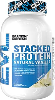 Evlution Nutrition Stacked Protein Natural 2 LB Protein Powder with 25 Grams of Protein, 5 Grams of BCAA's and 5 Grams of Glutamine (Vanilla)