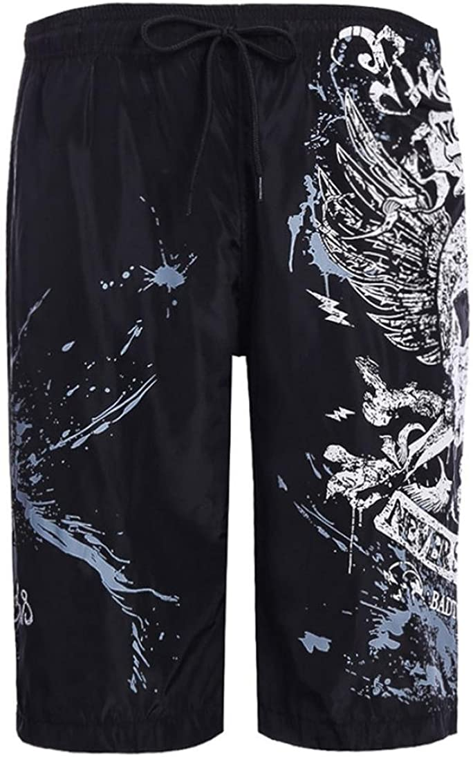 RAISINGTOP Men Swimwear Running Surfing Sports Quick-Dry Beach Board Shorts Trunks Pants Capri Relaxed Fit Tapered