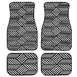 ZZHL Car Floor Mats Seamless Geometric Pattern Op Art Design Print Design Carpet Car SUV Truck Floor Mats 4 Pcs, Seamless Geometric Pattern Op Art Design