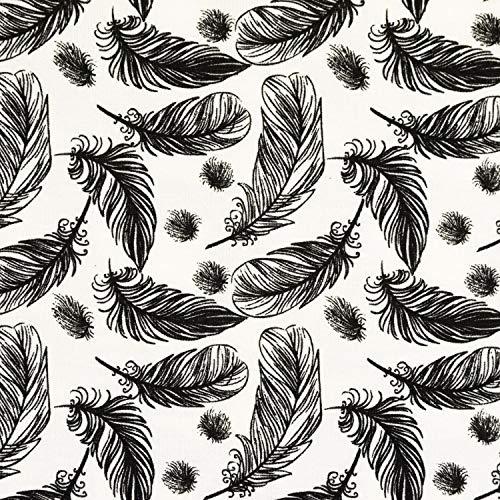 Baumwolljersey Federn schwarz weiß - Preis gilt für 0,5 Meter