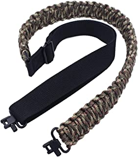 Rifle Sling with 550 Paracord Adjustable Shotgun Carrying Strap and Swivels for Hunting or Shooting