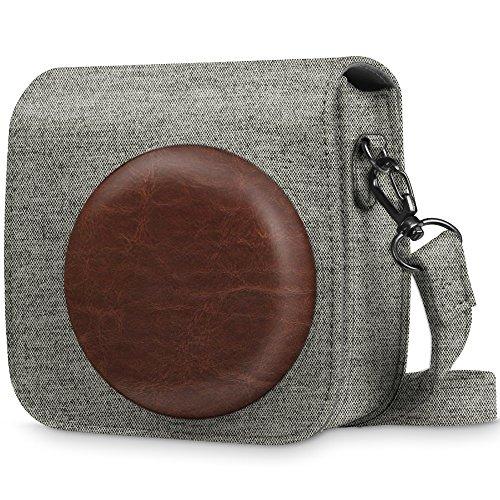 Fintie Tasche für Fujifilm Instax Mini 8 / Mini 9 Sofortbildkamera - Premium Schutzhülle Reise Kameratasche Hülle Abdeckung mit abnehmbaren Riemen, Stoff Denim grau