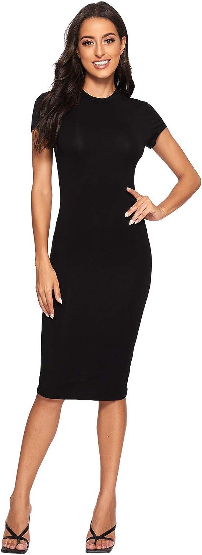 Verdusa Women's Mock Neck Cap Solid Dress Bodycon Pencil Phoenix Mall Sleeve Austin Mall