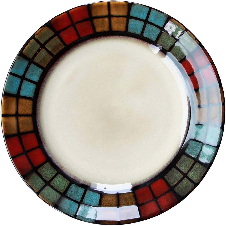 WSY Assiette en céramique créative Japonaise, Assiette à Salade de Fruits Ronde, Assiette à Dessert Home (8.5 Pouces) (Couleur   Set OF2)