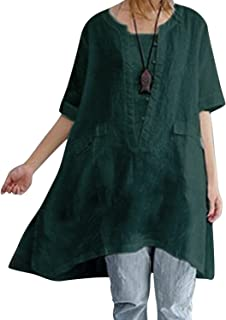 BBYES Women's Plus Size Short Sleeve High Low Loose Fitting Tunic Tops Green M