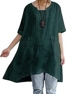BBYES Womens Summer Loose Fit Plain Linen Short Sleeve Blouse Shirt Tunic Dress