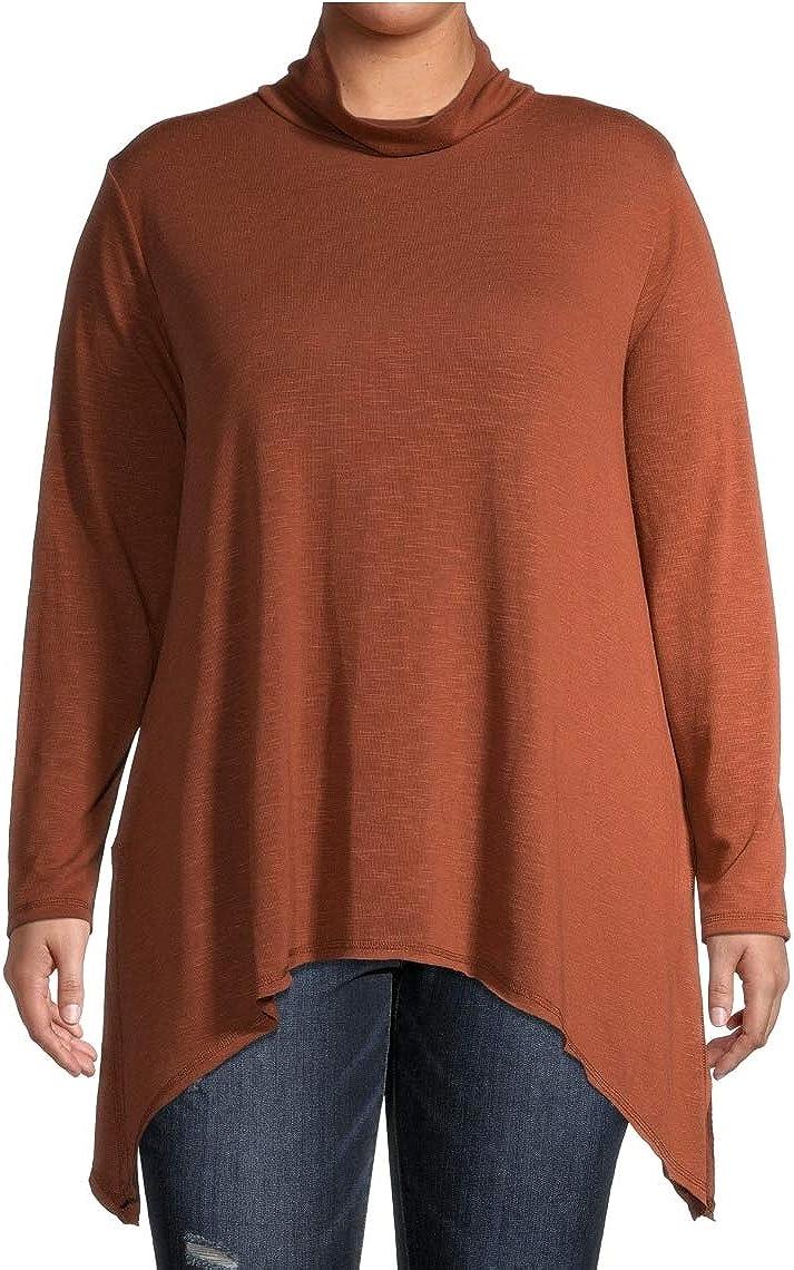 Cinnamon Spice Plus Size Sharkbite Tunic Cowlneck Knit Top