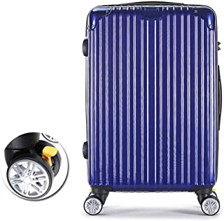Unisex Fashion Trolley Case,Scratch-Resistant Lightweight PC+ ABS Hard Shell Hold Check Luggage Suitcase with 8 Wheels 360°Spinner & TSA Lock,Blue,24inches