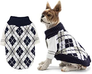 RilexAwhile Dog Sweater Dog Knit Sweater Diamond Plaid Dog Christmas Sweater Pet Sweatshirt with Harness Hole Winter Warm Dog Apparel Coat for Small Medium Dogs