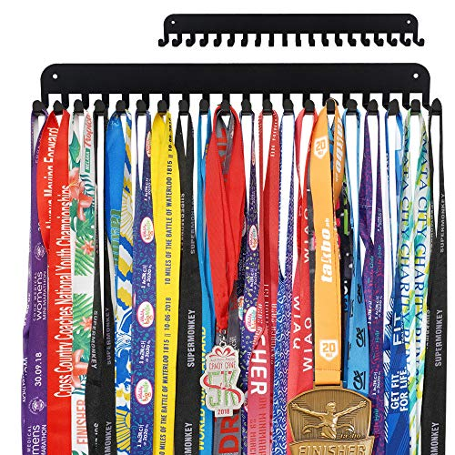 Miayork Medal Holder Display Hanger Rack Frame - Sturdy Wall Mount Medals Easy to Install-20PCS Hooks-Black Color with Box Package