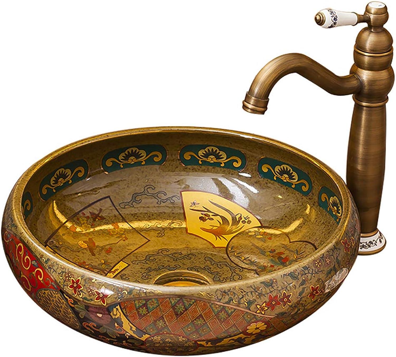 LINLIN Keramik Spülbehlter Europische Antike Marmor Kunst über Dem Gegen Beckenwasser Hahn Und Zubehr Bad 41  41  15Cm,A
