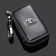 Gaocar Auto Parts Car Key case for Toyota,Genuine Leather Car Smart Key Chain Keychain Holder Metal Hook and Keyring Zipper Bag for Remote Key Fob - Black (for Toyota)