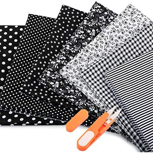 JTENG Baumwollstoff meterware Stoffpaket 7 Stück 50 x 80 cm + Schere, Nähstoffe Patchwork Stoffe 100% Baumwolle DIY Baumwolltuch, zum Nähen, Patchwork, vorgeschnittene Nähen, Scrapbooking
