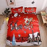 Youareking feliz Navidad 3piezas Juego de fundas de edredón con 2Shams, Santa Claus patrón juego de funda de ropa de cama, Plein