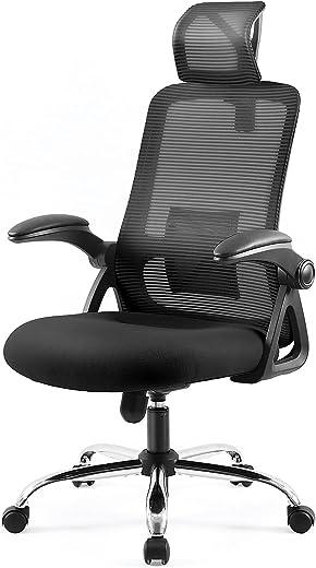 Ergonomischer Bürostuhl, EPLUS LIVING Computerstuhl mit Verstellbaren Lordosenstütze, Bürostühle mit Rückenlehne Armlehnen, Kopfstütze,…