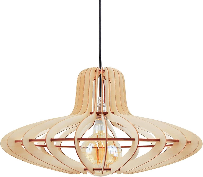 Wodewa Holzlampe Pendelleuchte Holz Medusa I Nachhaltige Moderne Deckenlampe Birkenholz I Deckenleuchte Hhenverstellbar LED E27 Hngelampe  58cm