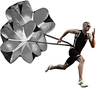KUYOU Running Speed Training, 2 Umbrella Speed Chute 56 Inch Running Parachute Soccer Training for Weight Bearing Running and Fitness Core Strength Training