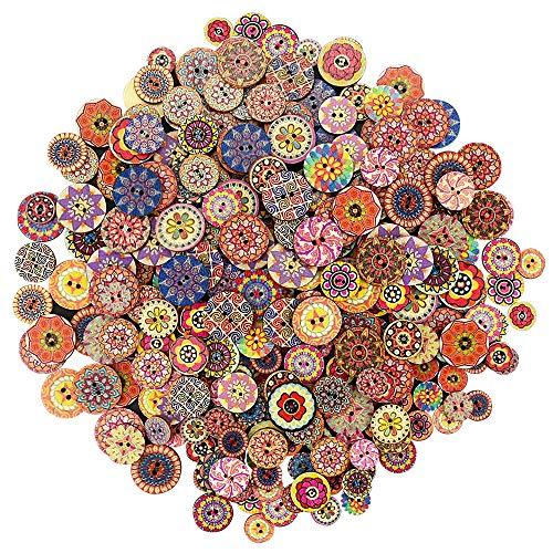 300 Stück Bunte Knöpfe Vintage Holzknöpf Runde Holz Button Kinder DIY Retro Knöpfe Puppenknöpfe mit 2 Löcher Bunte Holzknöpfe zum Basteln, Nähen, Handwerk, Zubehör (15mm, 20mm, 25mm)