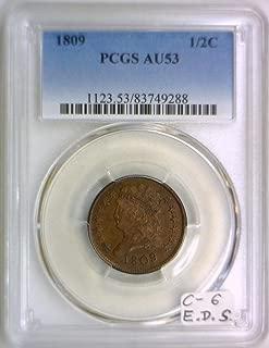 1809 P Classic Head C-6; E.D.S; Manley-2.0; Half Cent AU-53 PCGS