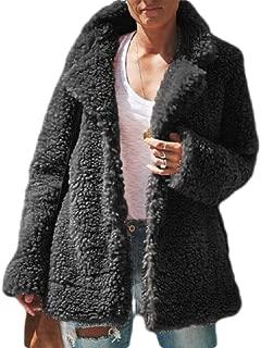 Women Casual Lapel Fleece Fuzzy Cozy Fit Cardigans Shearling Coat Jackets