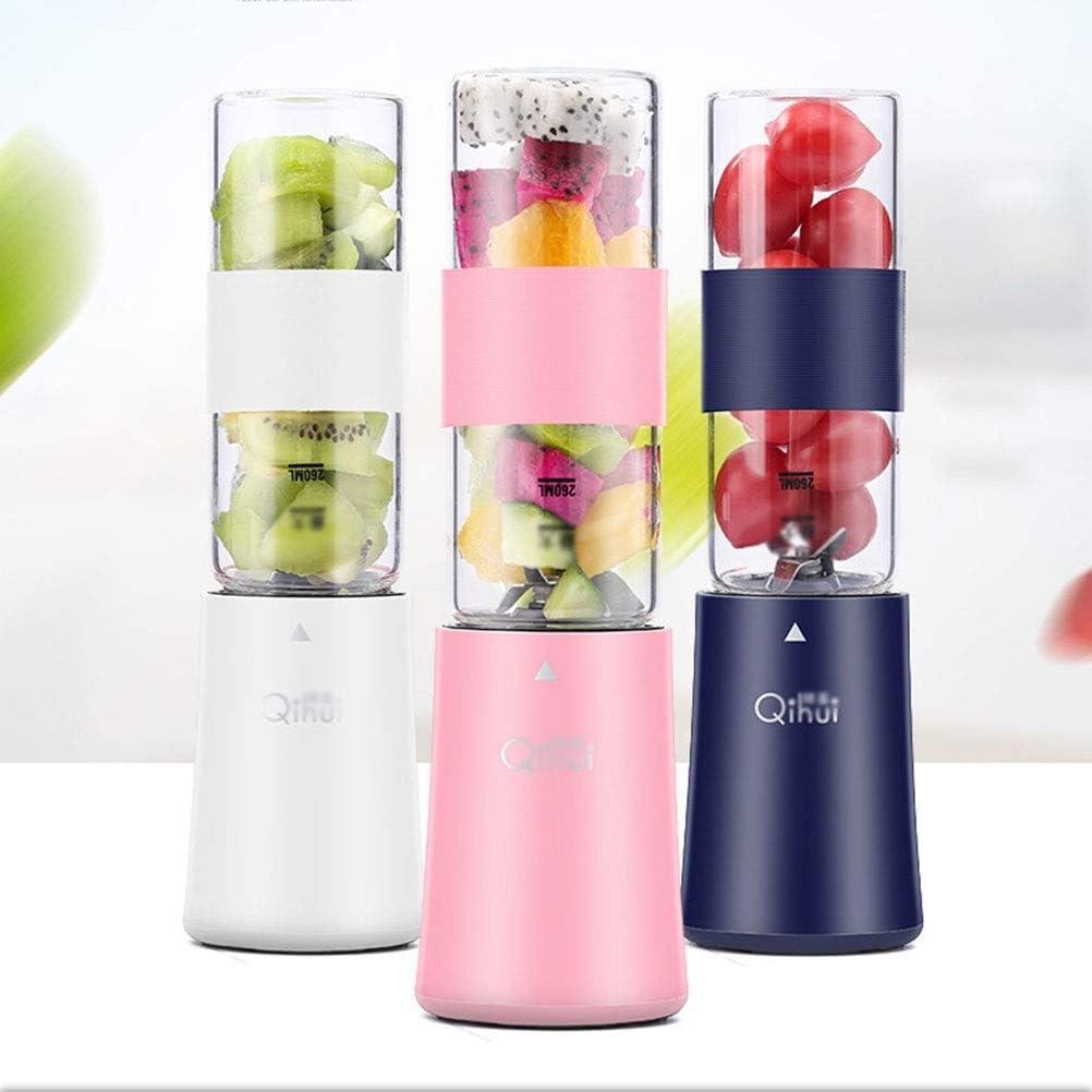 Mezclador Personal Juicer Cup Portable Blender Recargable para el Hogar Exprimidor de Frutas Fabricante de Frutas Extractor de Frutas 4 Hojas 260 Ml, O&YQ, Rosado Azul