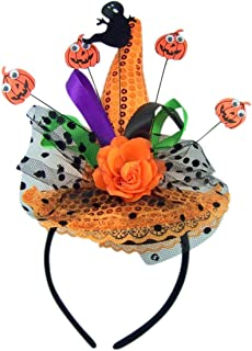 Ghost and Pumpkin Orange Sequins Witch Hat Halloween Headband