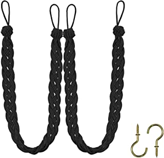 Home Queen Hand Braided Curtain Tie Back, Buckle Holdback Drapery Curtain Tiebacks, 2 Rope Belt Curtain Tie with 2 Metal Hooks, Black