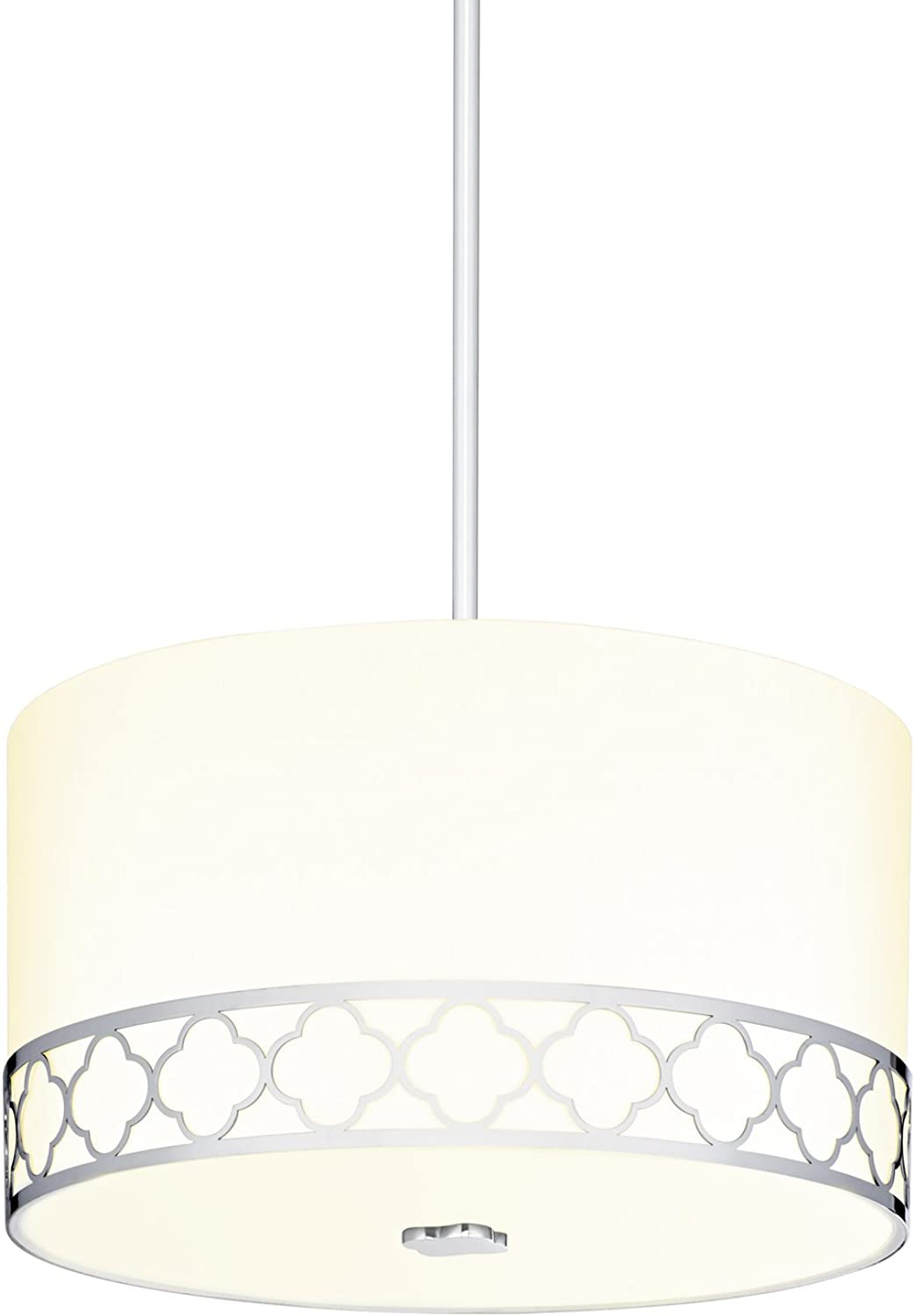 Fabric Linen Drum Pendant Light - 14  Inch 3-Light Ceiling Fixture with Scalloped Nickel Metal Design and Glass Diffuser