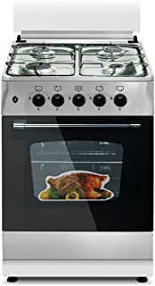 Unigas Cooker 55 x 55 x 85 Cm 4 Burner Stainless Steel With Gas Oven C5555s3v-dp-394-1 Year Brand Warranty.