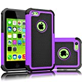 Tekcoo iPhone 5C Case, [Tmajor Series] [Purple/Black] Shock Absorbing Hybrid Impact Defender Rugged Slim Case Cover Shell for Apple iPhone 5C Hard Plastic Outer + Rubber Silicone Inner